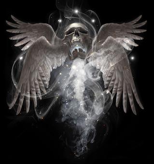 Летающий человеческий череп с крыльями в дыму. реалистичные иллюстрации изолированы. мистический рисунок руки.