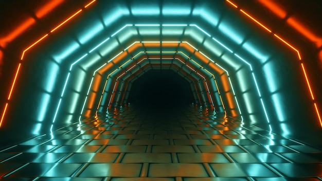 Полет в ярком неоновом геометрическом туннеле