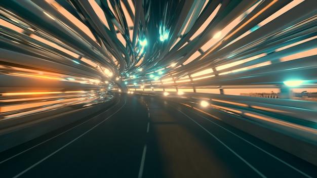 道路のある未来的な光ファイバートンネルを飛ぶ