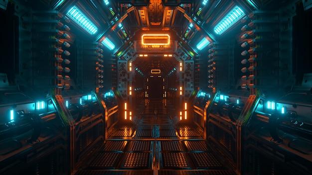 우주선 터널, 공상 과학 셔틀 복도에서 비행. 미래의 추상 기술입니다. 기술 및 미래 개념입니다. 깜박이는 빛. 3d 그림