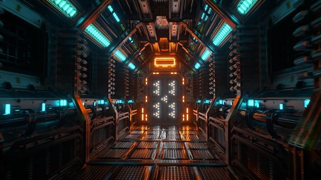 宇宙船のトンネル、sfシャトルの廊下を飛んでいます。未来の抽象的なテクノロジー。テクノロジーと将来のコンセプト。点滅するライト。 3dイラスト