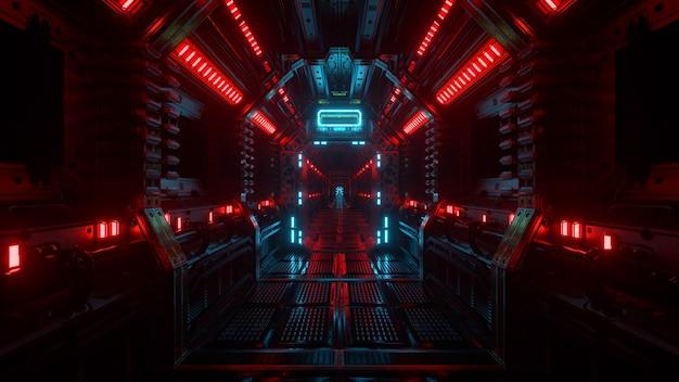 宇宙船のトンネル、sf宇宙船の廊下に飛んでいます。未来のテクノロジーは、技術的なタイトルと背景のためのシームレスなvjを抽象化します。インターネットトラフィックのグラフィック、速度。 3dイラスト
