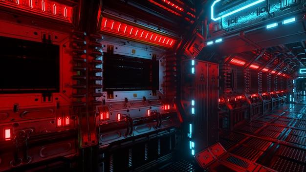 Полет в туннель космического корабля, коридор научно-фантастического космического корабля. футуристическая технология абстрактного бесшовного vj для технических заголовков и фонов. графика интернет-трафика, скорость. 3d иллюстрация