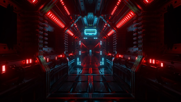 Flying into spaceship tunnel, sci-fi spaceship corridor. futuristic technology abstract seamless vj for technical titles and backgrounds. internet traffic graphics, speed. 3d illustration