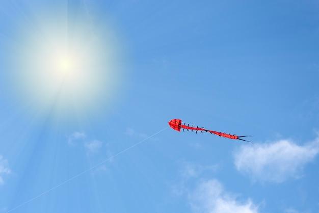 플라잉 카이트 여러 가지 빛깔의 카이트가 구름과 태양 공간이 있는 하늘색 하늘을 날고 있습니다.