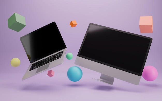 Flying laptop and desktop computer rounded by 3d primitive objects .ready for mockups