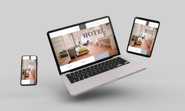 ホテルのレスポンシブウェブデザインを示すフライングラップトップ、モバイル、タブレットの3dレンダリング.3dイラスト