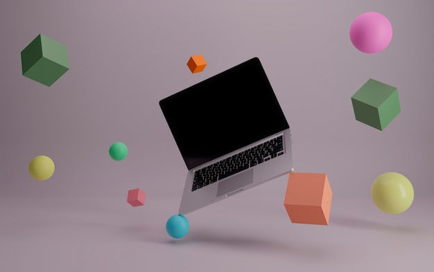 Flying laptop rounded by 3d primitive objects .ready for mockups