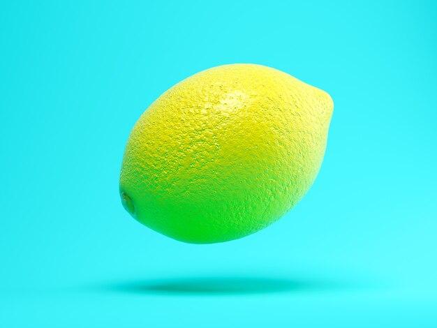 Летающий лимон на синем фоне 3 d иллюстрации