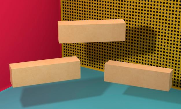 긴 갈색 빈 단순한 판지 상자 비행