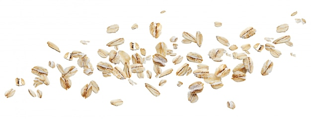 Flying oat flakes isolated