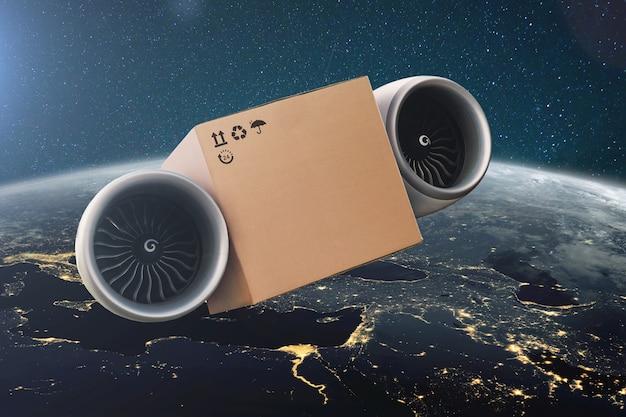 Летающие на турбинах картонные коробки. концепция сверхбыстрой экспресс-доставки. доставка грузов в космос с удивительной голубой планеты земля.
