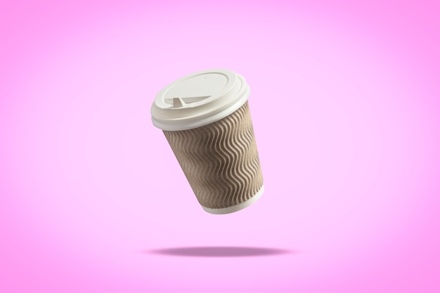 Flying paper cup with a lid for coffee or tea on a purple surface. levitation. coffee and coffee shop concept, takeaway food, breakfast with you.