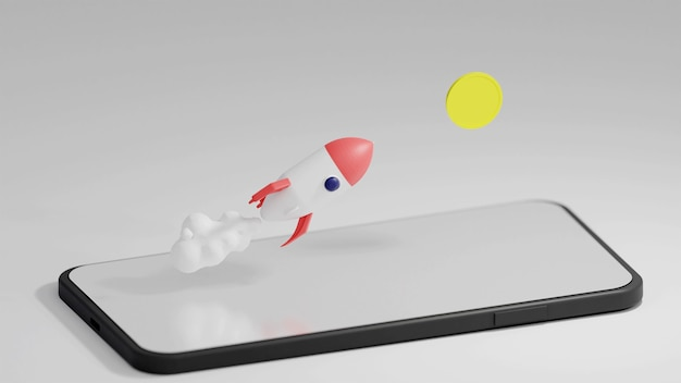 Летающая ракета и монета у телефона