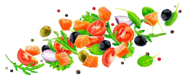 Flying salmon salad ingredients