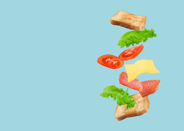 Flying sandwich with salmon, cheese and tomatoes on a blue.