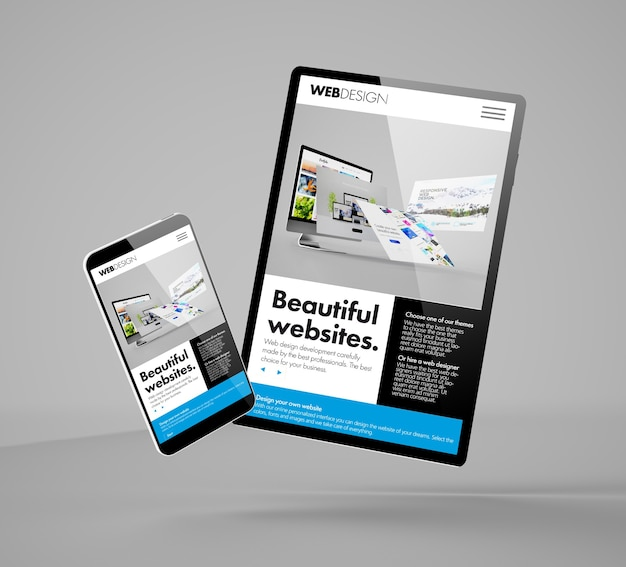 ビルダーのウェブサイトを示す飛行スマートフォンとタブレットのモックアップ3dレンダリング