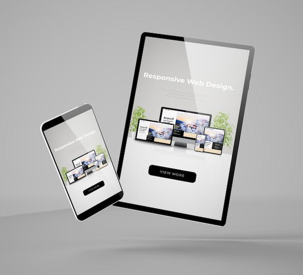 レスポンシブウェブサイトを示す飛行スマートフォンとタブレットのモックアップ3dレンダリング