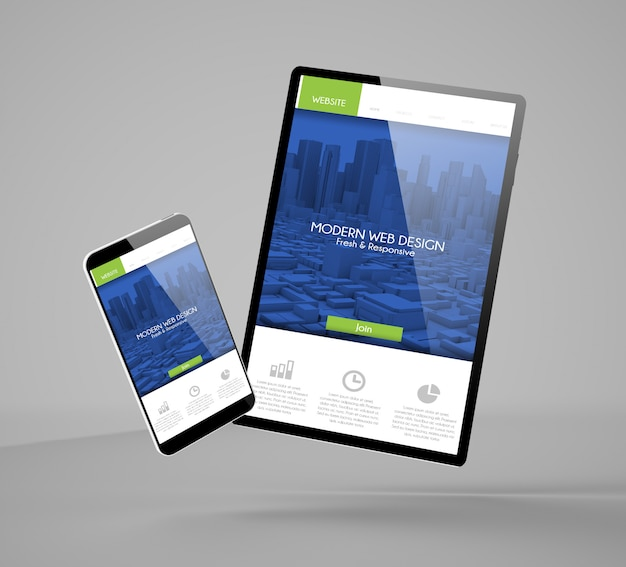 Flying smartphone and tablet with modern website landing page