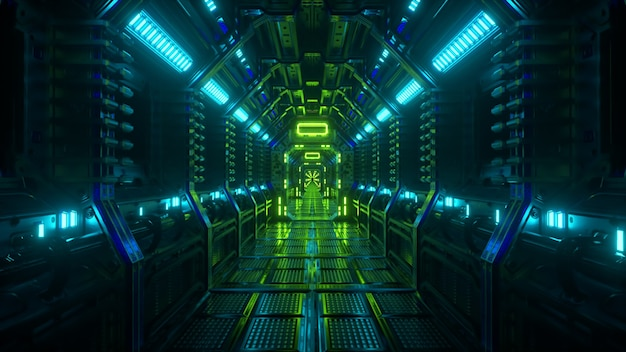 Flying in a spaceship tunnel, a sci-fi shuttle corridor. futuristic abstract technology. technology and future concept. flashing light. 3d illustration
