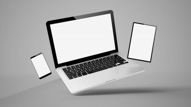 Летающий планшет, ноутбук и мобильный телефон