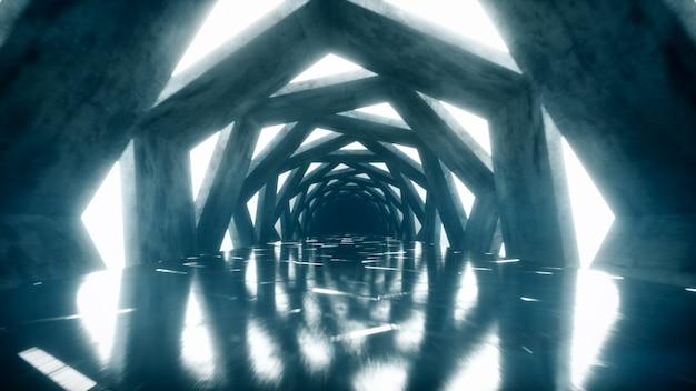 渦巻く六角形の明るいネオン回廊を飛ぶ