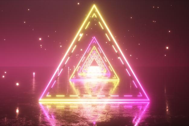 Пролетая сквозь светящиеся неоновые треугольники с металлическим полом, создавая туннель с туманом