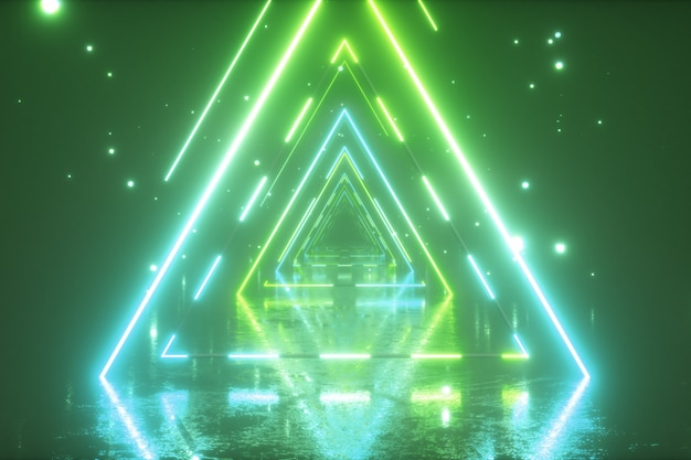 Flying through glowing neon triangles with metal floor creating a tunnel with fog
