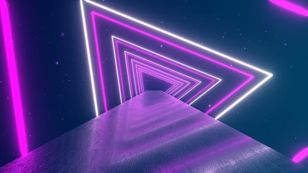 トンネル、青赤ピンクバイオレットスペクトル、蛍光紫外光、モダンなカラフルな照明、3 dイラストレーションを作成する輝く回転ネオン三角形を飛んで