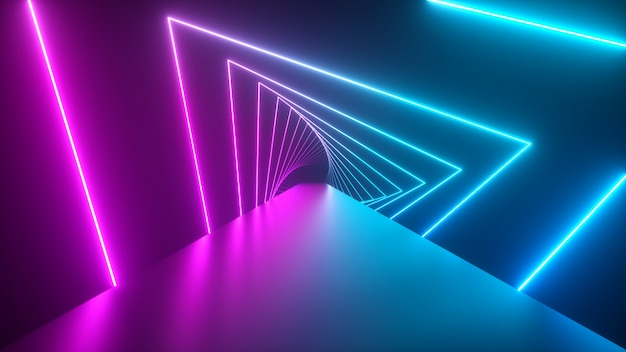 Пролетая сквозь светящиеся вращающиеся неоновые треугольники, создавая туннель