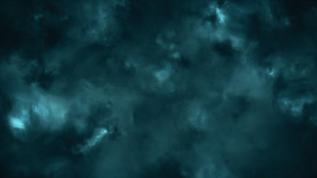 번개 플래시 3d 일러스트와 함께 조명 폭풍우 구름을 통해 비행