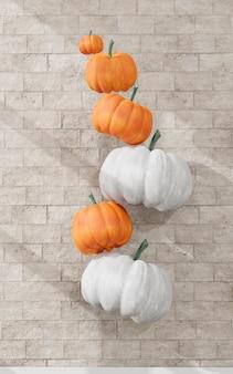 フライングホワイトとオレンジのカボチャの装飾
