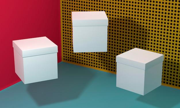 Летающие белые пустые упрощенные картонные коробки