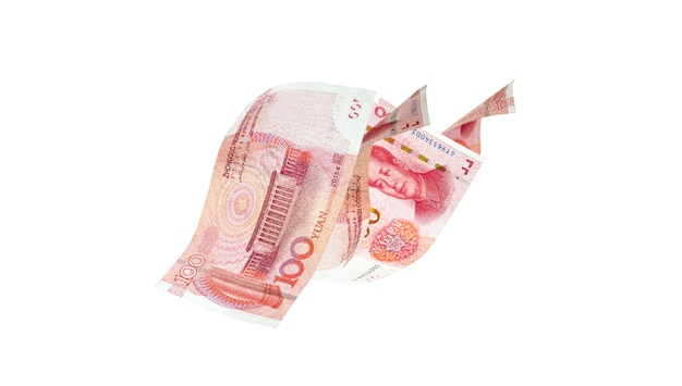 Flying of yuan banknote