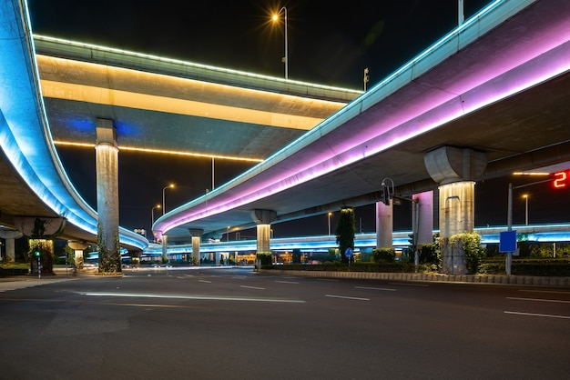 Flyovers and expressways glowing at night