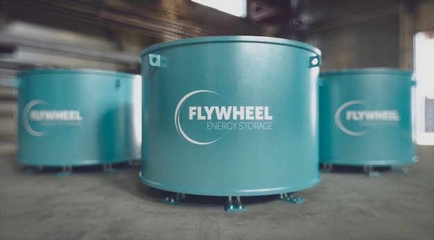 Система накопления энергии с маховиком, расположенная в заводских условиях. 3d-рендеринг.
