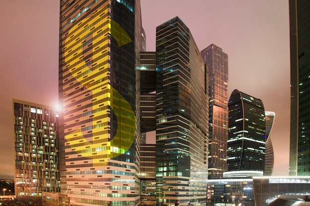 Fnancial concept, gold  dollar sign on a skyscraper building.