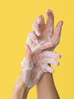 Foamy hands washing with soap