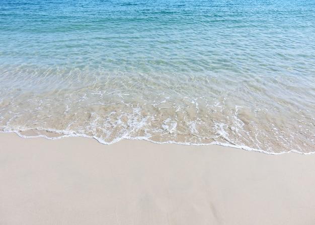 熱帯のビーチで青い海の水と砂浜の泡の波