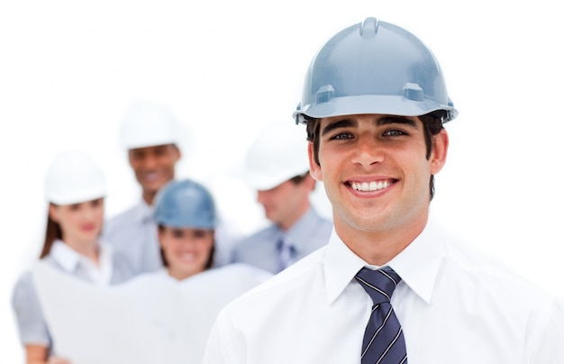 Focus on an architect wearing a hardhat against a white backgrou