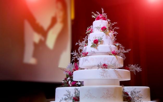 Focus artificial wedding cake decoration in wedding ceremony