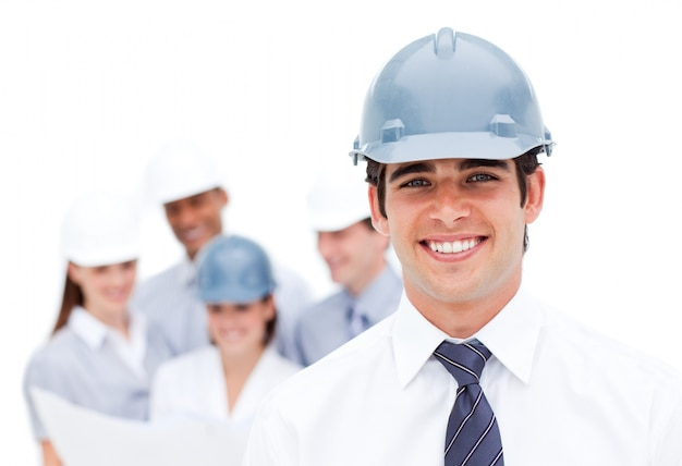 Focus on a male architect wearing a hardhat