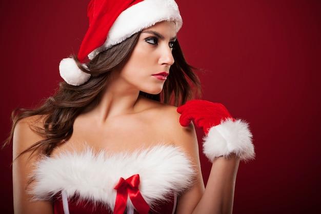 복사 공간을보고 초점 부인 산타 클로스