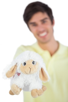 Focus shot on sheep plush