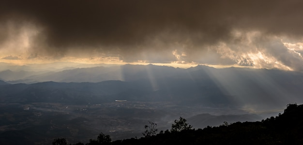 Fog over the mountain, sunset panorama view from doi inthanon