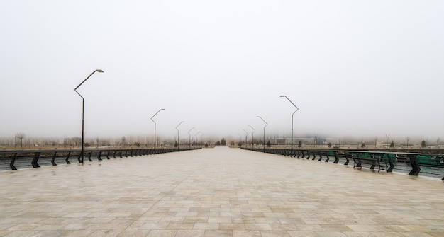 Foggy day on the city embankment