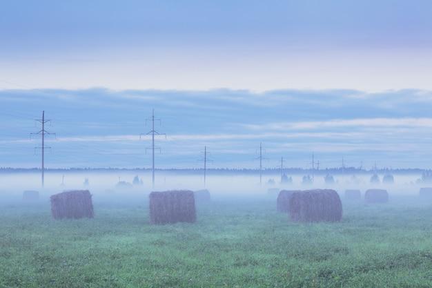 日没時に干し草の山と電柱のある霧のフィールド
