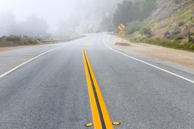 Foggy road in calfornia pacific highway 1 us 101
