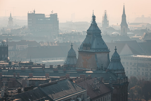 Foggy rooftop view of budapest historical city center, hungary