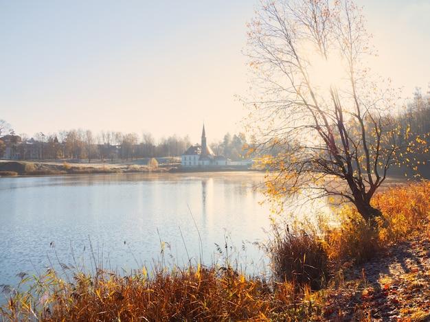 古い宮殿と霧の日当たりの良い秋の風景。ガッチナ。ロシア。